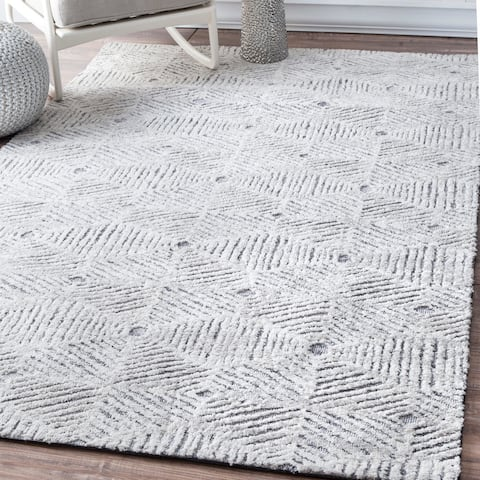 nuLOOM Ivory Contemporary Geometric Abstract Area Rug