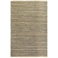Fab Habitat  Sustainable Jute & Cotton Area Rug Eco-friendly Natural Fibers, Handwoven/Congaree - Black Stripe - Size 5 x 8