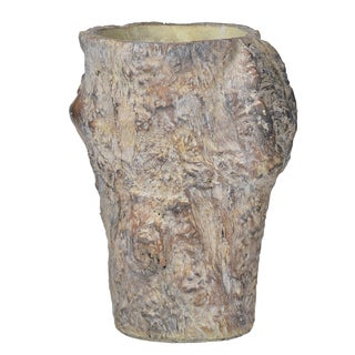 Brown Cement Medium 8-inch x 7-inch x 11-inch Tree Stump Vase