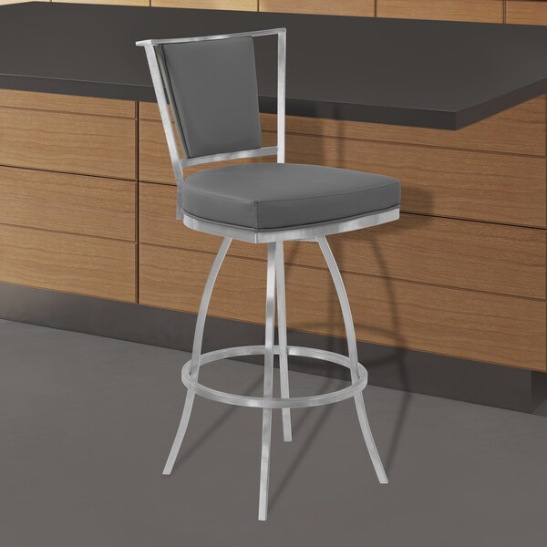 Armen Living Delhi Brushed Stainless Steel and Grey Faux Leather Swivel Barstool