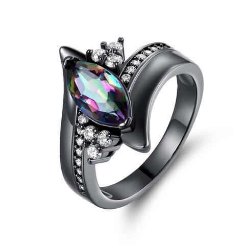 Black Rhodium & Marquise-Cut Rainbow Quartz Engagement Ring