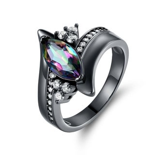 Black Rhodium & Marquise-Cut Rainbow Quartz Engagement Ring