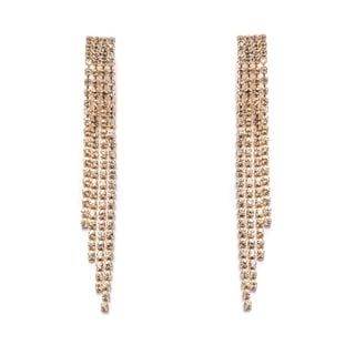 Gold Plated and Crystal Elements Dangling Earrings