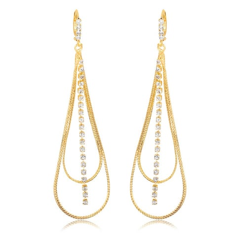 Gold Plated and Cubic Zirconia Dangle Earrings