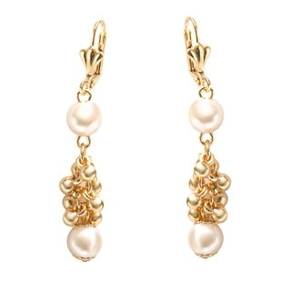Gold Plated & Faux Pearl Dangling Earrings