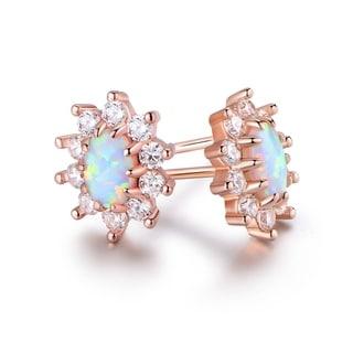 Rose Gold Plated White Fire Opal & CZ Flower Stud Earrings