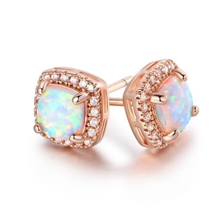 Rose Gold Plated Fire Opal & CZ Stud Earrings