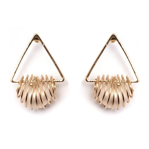 Gold Plated and Natural Shell Pearl Triangle Drop Earrings