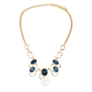 Gold Plated Gold & Crystal Circle-Link Statement Necklace