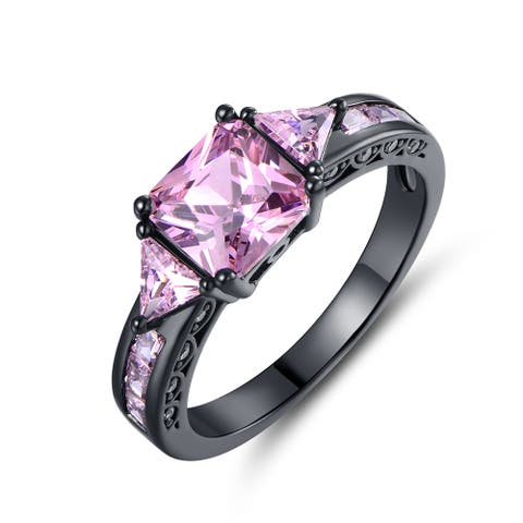 Black Rhodium-plated Brass Princess-shape Pink Cubic Zirconia Ring