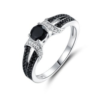 Gold Plated Onyx Cubic Zirconia Engagement Ring