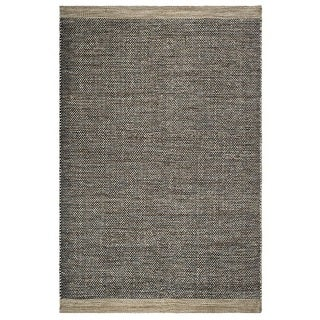 Fab Habitat, Indoor/Outdoor Floor Mat/Rug - Handwoven, Made from Recycled Plastic Bottles - Kingscote/Black & Beige - 4' x 6'