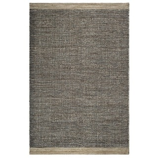 Fab Habitat, Indoor/Outdoor Floor Mat/Rug - Handwoven, Made from Recycled Plastic Bottles - Kingscote/Black & Beige - 3' x 5'