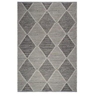 Fab Habitat, Indoor/Outdoor Floor Rug - Handwoven, Made from Recycled Plastic Bottles - Hampton/Grey - 5' x 8' - 5' x 8'
