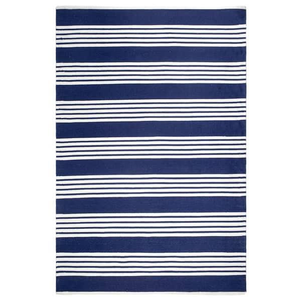 Handmade Mariona Stripe And Blue Floor Rug 8 X 10