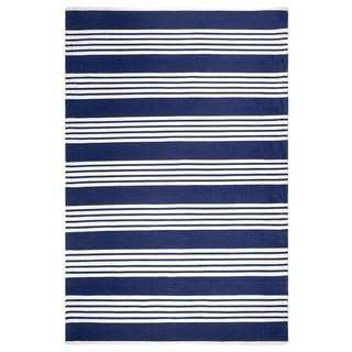 Handmade Mariona Stripe and Blue Floor Rug - 8' x 10' (India)