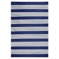 Fab Habitat, Indoor/Outdoor Floor Mat/Rug - Handwoven, Made from Recycled Plastic Bottles - Mariona Stripe/Blue & White 8' x 10'