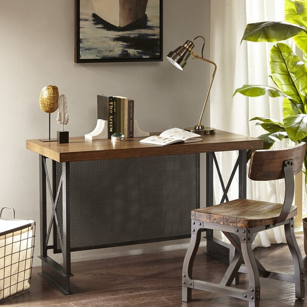Madison Park Afton Walnut/ Graphite Industrial Desk - Shop Madison Park Afton Walnut/ Graphite Industrial Desk - Free