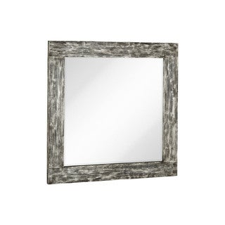 Majestic Square Mirror With Black Rubbed Silver Leaf Wood Frame