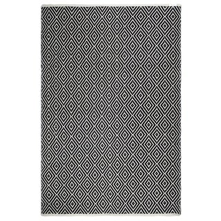 Fab Habitat, Indoor/Outdoor Floor Mat/Rug - Handwoven, Made from Recycled Plastic Bottles - Veria/Black & White - 8' x 10'