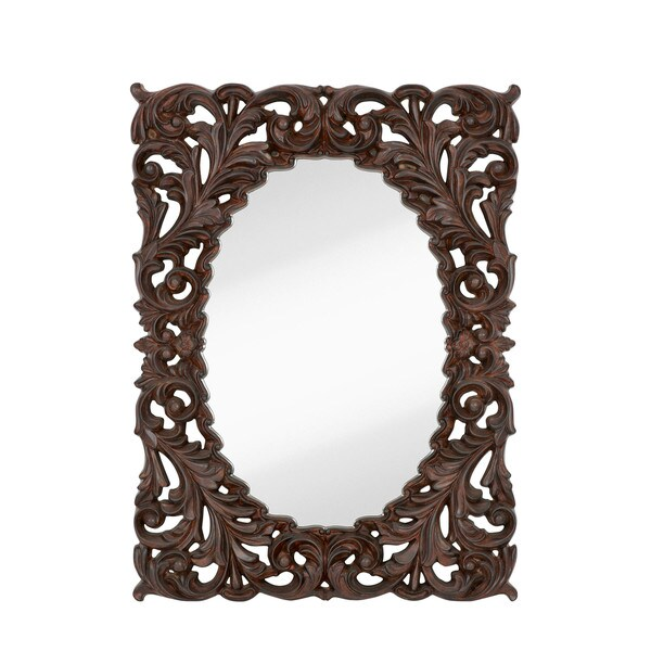 Shop Majestic Formal Traditional Oval Mirror with Walnut and Black ...