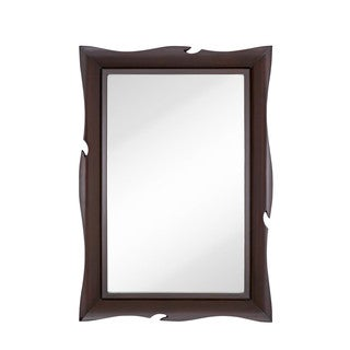 Traditional Large-scale Wavy Wenge Brown Frame Wall Mirror