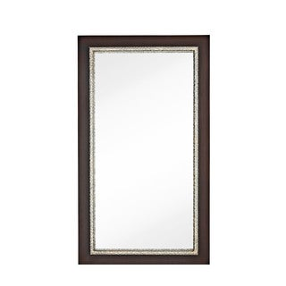 Contemporary Dark Brown Polished Chrome Oversized Rectangular Wall Mirror
