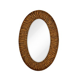 Majestic Traditional Gold Leaf with Black Rub Beveled Glass Oval-shaped Accent Wall Mirror