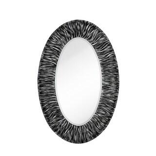 Majestic Silvertone/Black 32-inch x 48-inch Oval Mirror