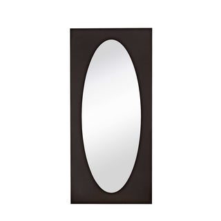 Majestic Large Contemporary Dark Brown Rectangular Framed Oval Glass Wall Mirror