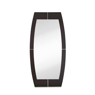 Majestic Contemporary Dark Brown with Metal Base and Metal Accents Large Framed Decorative Mirror