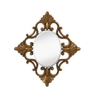 Majestic Decorative Oval Accent Mirror with Traditional Antique Gold Leaf Frame