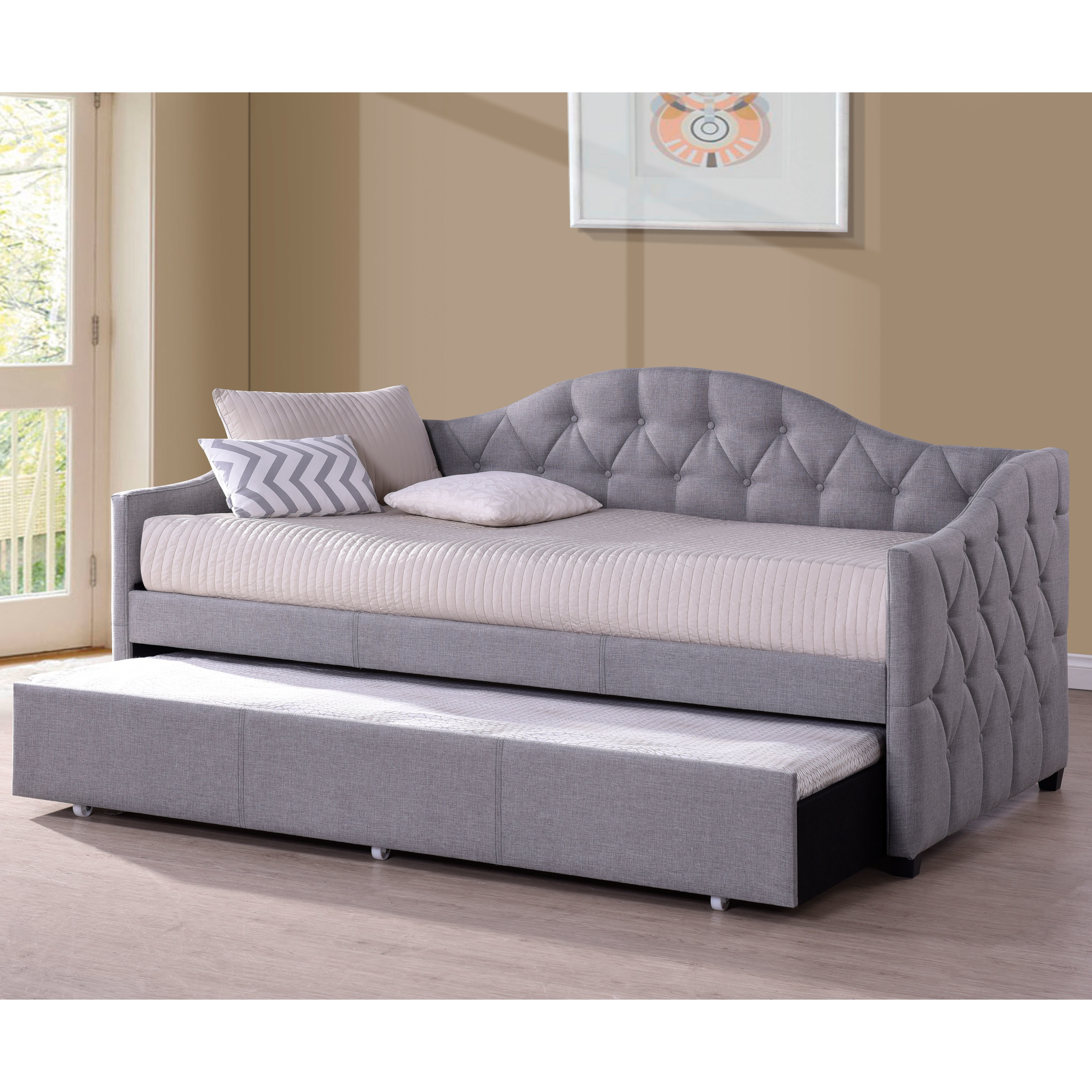 Shop Copper Grove Black Hills Grey Fabric Tufted Daybed With