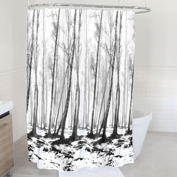 Fog Forest Fabric Shower Curtain 70 X72 Black White