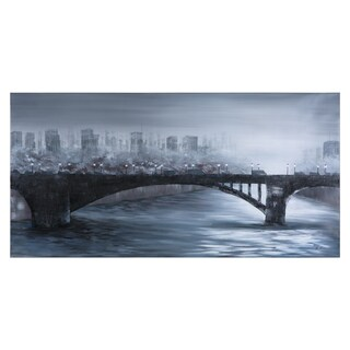 Yosemite Home Decor 'Fog Over the City' Hand-painted Canvas Art