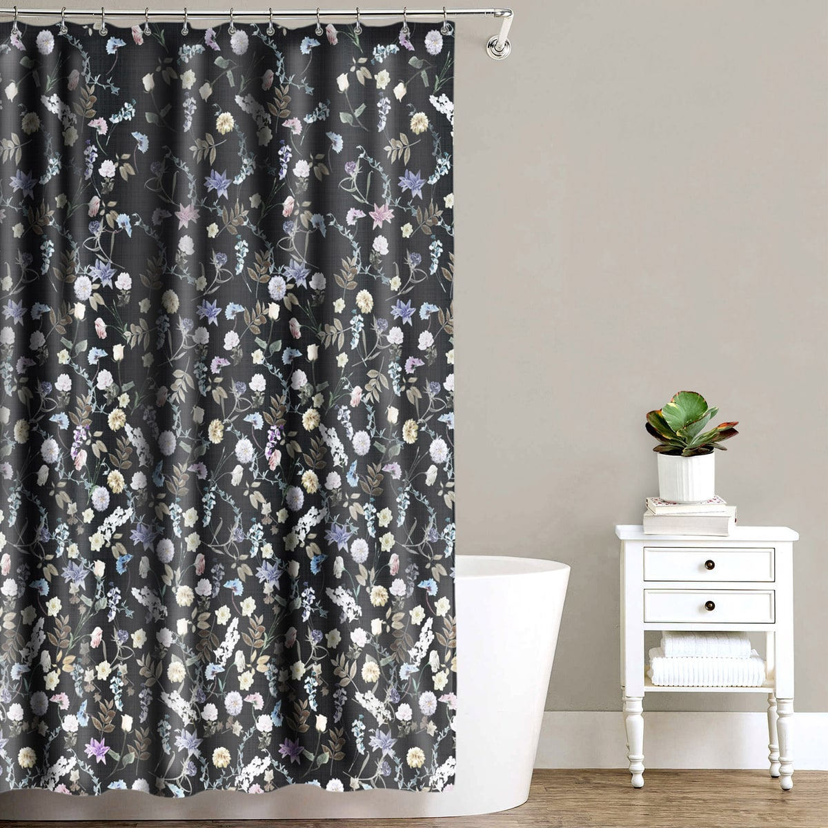 Akita Black Fabric Shower Curtain