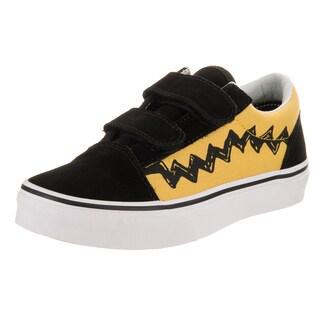 Vans Kids Old Skool V Peanuts Black/Yellow Canvas Skate Shoe