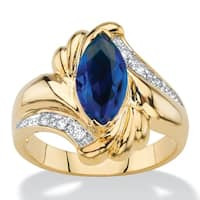 Marquise-Cut Simulated Blue Sapphire And Cubic Zirconia Accent Bypass Ring Co