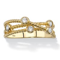 Yellow Gold over Sterling Silver Cubic Zirconia Ring - White