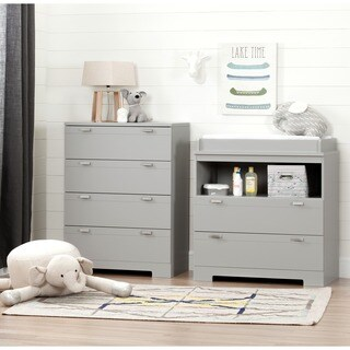 South Shore Reevo Changing Table and 4-Drawer Chest Set , Soft Grey