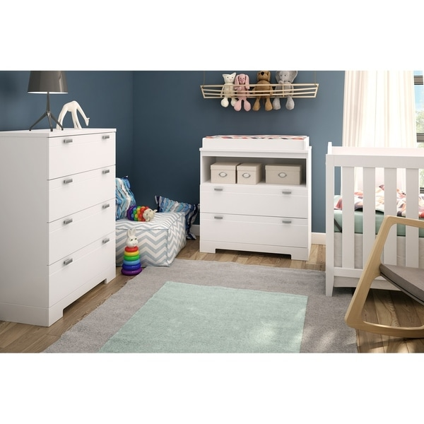 Pure White South Shore Reevo Changing Table with Storage