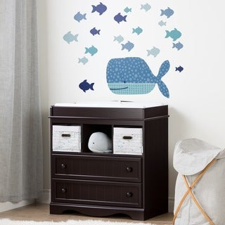 South Shore Savannah Espresso and Blue Changing table with Little Whale Wall Decals