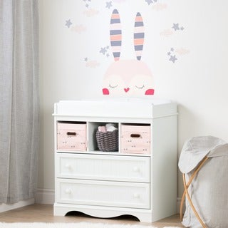 South Shore Savannah Pure White and Pink Changing Table with Doudou the rabbit Wall Decals