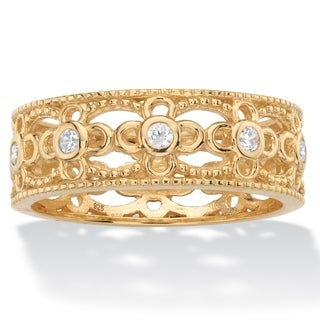 Round Cubic Zirconia Filigree Eternity Ring .25 TCW in 18k Yellow Gold over Sterling Silver Classic
