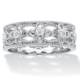 Round Cubic Zirconia Filigree Eternity Ring .25 TCW in Sterling Silver Classic CZ