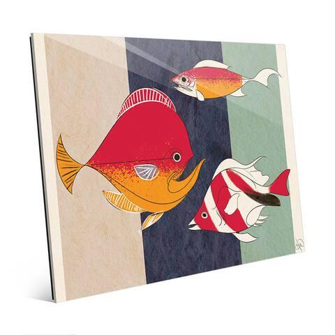 Crimson Fishy Fish on Stripes Wall Art Glass Print