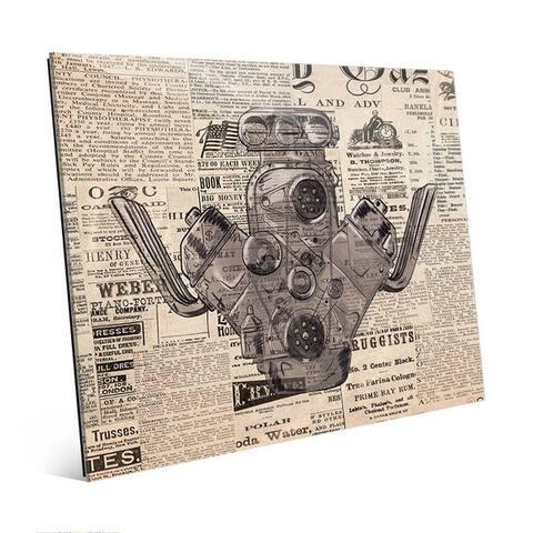 Engine on Vintage Newsprint Wall Art Glass Print