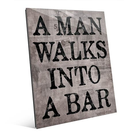 A Man Walks Into A Bar Grey Wall Art Glass Print
