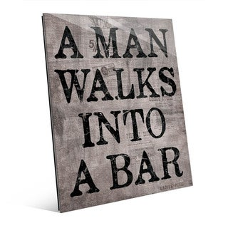 A Man Walks Into A Bar Grey Wall Art Glass Print