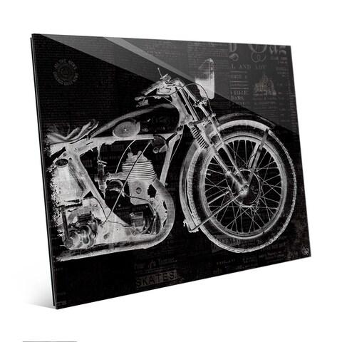 Vintage Motorcycle Black Wall Art Print on Glass